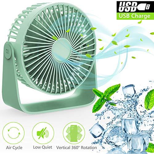 Ventilatore USB, TedGem Ventilatore da Tavolo Ventilatore Silenzioso Rotazione a 360 °, Ventilatore USB può Mettere Oli per Aromaterapia, Ventilatore regolabile a 3 Velocità per Casa, Ufficio (Verde)