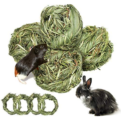 8 Stück Kleintiere Kauspielzeug, Natürlicher Timothy-Gras Kauball, Kaninchen Zahnpflege Grasring/Geeignet für Häschen Chinchilla Hamster Meerschweinchen Rennmäuse (Grün)