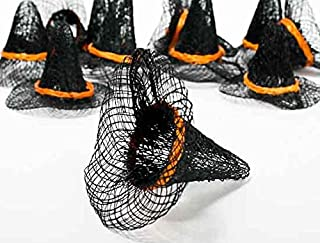 Factory Direct Craft Package of 12 Miniature Natural Sinamay Witch Hats with Harvest Orange Band 2