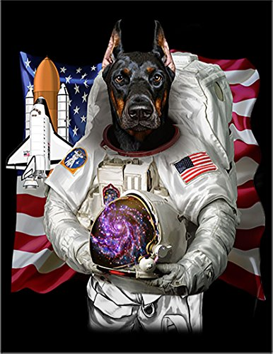 【宇宙飛行士 星条旗 ドーベルマン】 余白部分にオリジナルメッセージお入れします!ポストカード・はがき(黒背景)