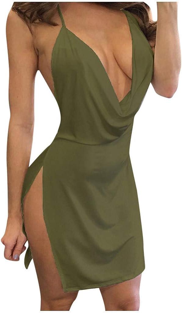 Summer Dress Woman,Women Dresses Summer Maxi,Fashion Womens Sexy Deep V-Neck Halter Backless Slit Mini Party Club Dress