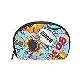 TIZORAX Comic Speech Burbujas Bang! Boom! Bolsa de cosméticos de viaje práctico organizador bolsa de maquillaje bolsa para mujeres niñas