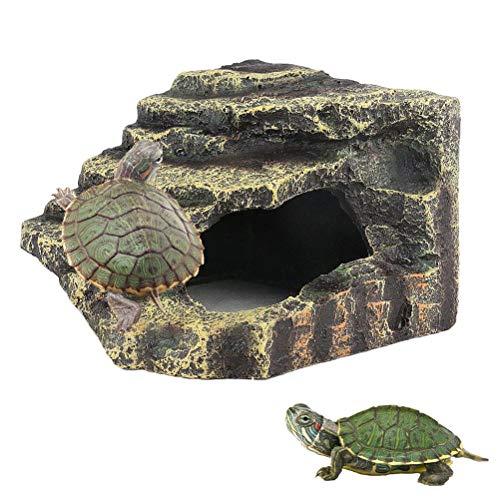 kathson Turtles Basking Platform Reptile Hiding Cave Hideouts for Aquatic Turtles, Frog, Newts andSalamanders