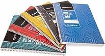 Amazon Basics College Ruled Wirebound Spiral Notebook, 100 Sheet - 5-Pack, Assorted Sunburst Pattern Colors