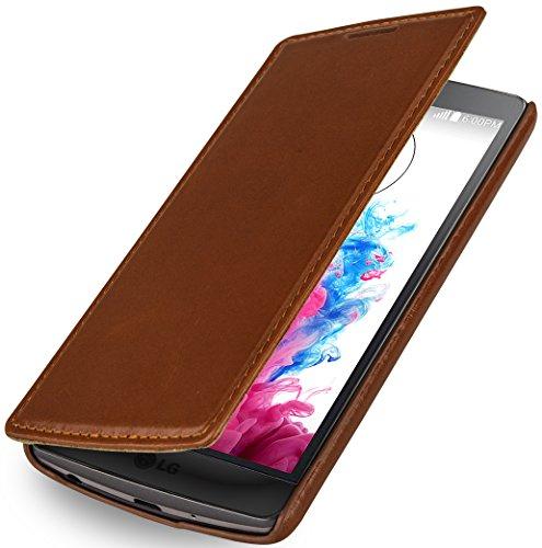 StilGut UltraSlim de Estilo Book Type, Funda exclusíva en Piel auténtica para el LG G3s, Cognac