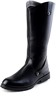 CHENDX Shoes, Men's Fashion Retro Cowboy Style Motorcycle Boots Casual Riding Knee High Boot (Color : Black, Size : 8.5 UK)