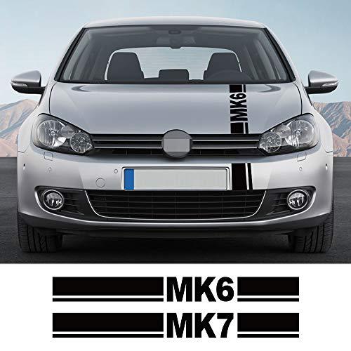Qwldmj Auto Motorhaubenabdeckung Aufkleber für Volkswagen Golf MK4 MK5 MK6 MK7 MK8 Auto Motor Motorhaube Sport Streifen Dekor Aufkleber Autozubehör