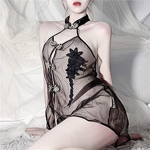 Intimo femminile ricamato Cheongsam Hanging Neck Pigiama Cool Reggicalze Gonna