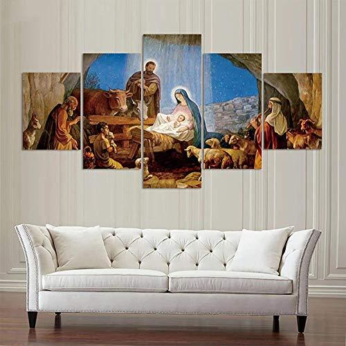 SYXBEIVK Póster de Lienzo para decoración del hogar, 5 Piezas/Piezas, Nacimiento de Jesús Cristiano, Enmarcado, Pintura de Arte de Pared, Sala de Estar Impresa en HD-30x40-30x60x2-30x80cm (Sin Marco)
