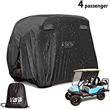 10L0L 4 Passenger Outdoor Golf Cart Cover,600D Waterproof Golf Cart Covers with Extra PVC Coating Sunproof Dustproof fits EZ GO Club Car Yamaha (fits for Most Extended Roof Carts,Up to 112 Inch)