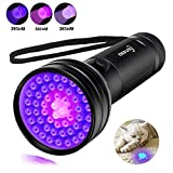 Escolite UV Flashlight Black Light Full Spectrum 3-in-1 51 LED 365nM 380nM 395nM Ultraviolet Black light Flashlights Detector for Dog/Cat Urine, Dry Pet Stains, Matching with Pet Odor Eliminator
