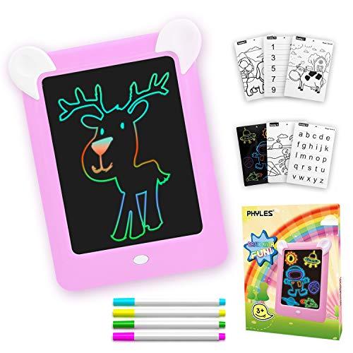 PHYLES Tablero de Dibujo Mágico, Pizarra 3D Mágico con Luces LED para Niños, Boceto, Arte, Juguetes Educativos, Incluye 10 Plantillas, 4 Bolígrafos, 1 Paño de Limpieza (Rosa)