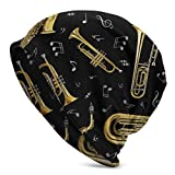 Instrumentos Musicales de Jazz, Instrumento de saxofón, Invierno, Verano, cálido, puño Holgado, Gorro para Adultos, Gorro de Punto Suave, Gorro de Calavera para Hombres y Mujeres