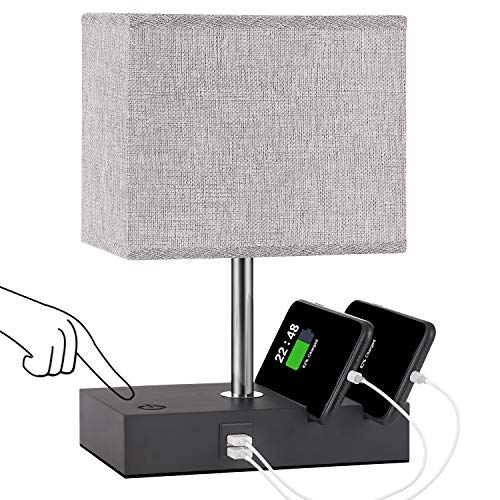 Touch Control Bedside Lamp with 2 USB Ports, Aooshine USB Table Lamp with 2 Phone Stands and Low Voltage Led Bulb, Grey Fabric Shade Modern Style, Dimmable Lamp for Bedroom, Nightstand, Living Room