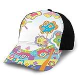 JONINOT Sombreros Unisex Gorras de béisbol Sombreros Sombrero de papá Dibujo Infantil de una Colina con Sol Colorido Un árbol y Nubes Arte Abstracto Simple