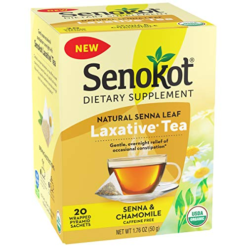 Senokot Dietary Supplement, Natural and Organic Senna Leaf, Laxative Tea for Occasional Constipation, 20 Wrapped Pyramid sachets, Certified Organic.