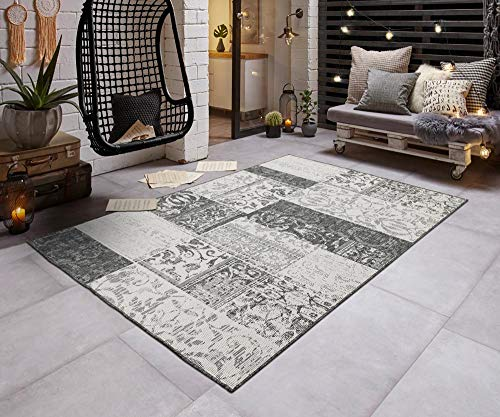 Teppich Boss In- & Outdoorteppich Flachgewebe Wendeteppich Patchwork modern, Größe:140x200 cm, Farbe:grau/Creme