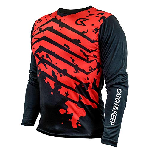 CATCH & KEEP Torwarttrikot – Fußballtrikot Herren, Damen & Kinder Langarm – Torwartbekleidung/Sporttrikot/Fussballtrikot gepolstert (Splash - Rot/Schwarz, 128)