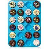HelpCuisine Teglia Muffin_Stampo Antiaderente per 24 Muffin/Teglia per Cupcake/dolcetti Realizzata in Silicone Alimentare di Alta qualità, Antiaderente e Privo di BPA, 24 stampini, Colore Blu