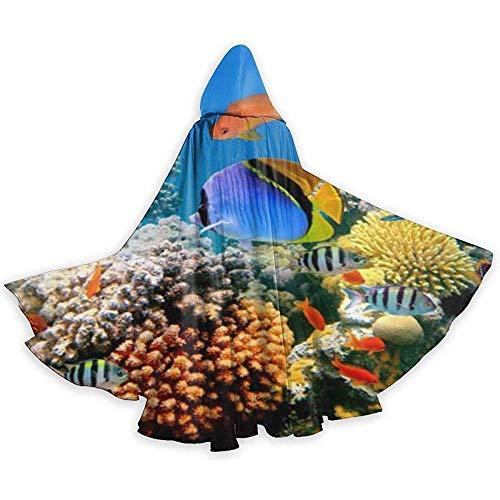 KDU Mode Heks Mantel, Grappig Aquarium Unisex Volledige Lengte Hooded Mantel Cape Aantrekkelijke Wizard Mantels Voor Heks Kostuums Cosplay 40x150cm