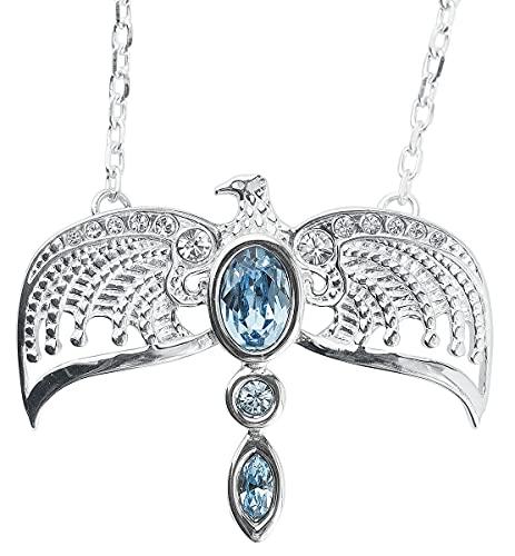 HARRY POTTER Ravenclaw Diadem Mujer Collar Plateado, En Plata de Primera Ley,