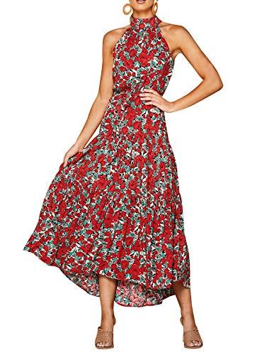 Eledobby Vestidos Largos con Cuello Halter para Mujer Polka Dot/Estampado Floral Vestido con Cinturón para Mujer Sin Mangas Boho Sundress Casual Primavera Verano Ropa Retro Wine Red XL