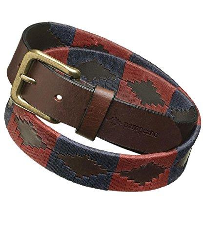 Pampeano ceinture de polo en cuir marcado Rouge & Marine 34