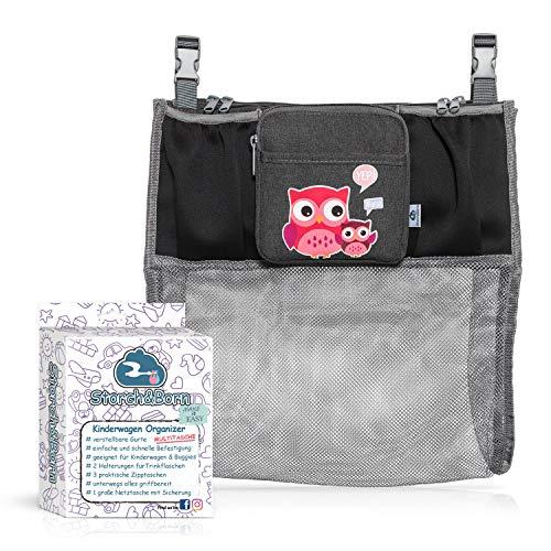 Storch&Born ® Kinderwagen Organizer, Anhängetasche mit Einkaufsnetz für Ihren Kinderwagen oder Buggy | Kinderwagentasche