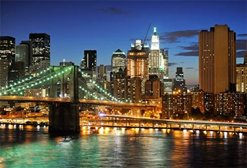 AOFOTO 7x5ft New York City Brooklyn Bridge Background Downtown Skyscrapers at Night Photography product image