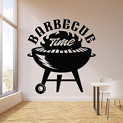 WERWN Barbecue Time Etiqueta de la Pared Cocina Barbacoa Comida Barbacoa Logo Puertas y Ventanas Pegatinas de Vinilo Bar Restaurante Decoración de Interiores Papel Tapiz Arte