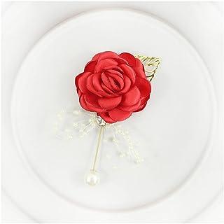 Corsage Wedding Bridesmaid Bracelet Men Brooch Pins Silk Rose Girl Corsage Wedding Guests Accessory (Color : Corsage red)