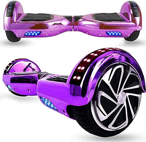 Magic Way Hoverboard - 6.5' - Bluetooth - Motor 700 W - Velocidad 15 km/h - LED - Patinete Eléctrico Auto-Equilibrio - para niños y Adultos (Púrpura Cromo)