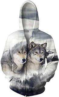 Pingtr Realistic 3D Wolf Hoodie, Mens Galaxy Outdoor Hoodies 3D Animal Print Pullover Long Sleeve Jumpers Graphic Sweatshirt