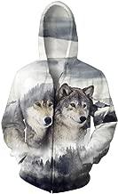 Men Hoodie Balakie 3D Wolf Snow Mountain Print Sweatshirt Zipper Sport Pullover