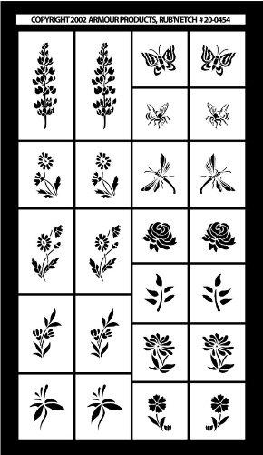 Armour Etch Stencil Rub N Etch Stencil, Mini Flowers, 5-Inch by 8-Inch