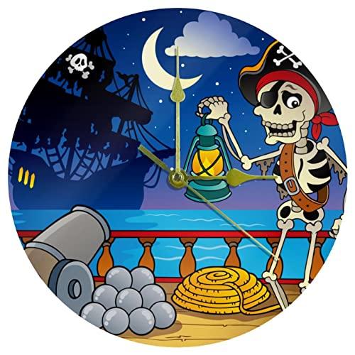 Yoliveya Reloj de pared redondo silencioso de barco pirata decorativo sin garrapatas reloj silencioso para regalo en casa, oficina, cocina, guardería, sala de estar, dormitorio, 25 cm