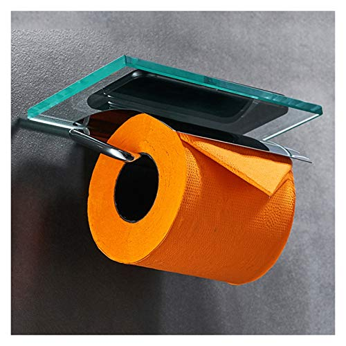 Portarrollos De Papel Higiénico Doble Con Estante De Vidrio Portarrollos De Papel Higiénico Montado En La Pared,Portarrollos (Color : Single roll tissue holder)
