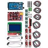 Kit de Impresora 3D, RAMPS 1.4 + para Mega 2560 CH340 + Controlador 12864 + Piezas de Placa de Chip A4988, Accesorios de Impresora 3D, con Rendimiento Estable, Apto para Impresora Reprap