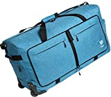 Wheeled Duffle Bag Luggage - 100L Large Rolling Duffel Bag 30 inch Folding Duffle Bag For Travel - Packable Duffle Bag With Rollers (Snow Blue)