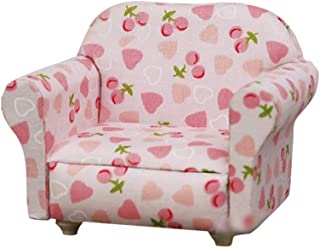 Hemore 1/12 Scale Dollhouse Miniature Furniture Wooden Recliner Chaise Couch Sofa Pink
