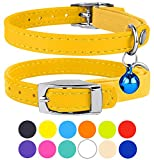 CollarDirect Leather Cat Collar, Cat Safety Collar with Elastic Strap, Kitten Collar for Cat with Bell Black Blue Red Orange Lime Green (Neck Fit 9'-11', Yellow)
