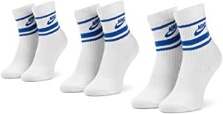 Nike U Nk Crew NSW Essential Stripe Calcetines, Unisex Adulto, White/Game Royal/(Game Royal)