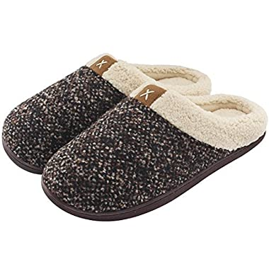 Men's Comfort Memory Foam Slippers Wool-Like Plush Fleece Lined House Shoes w/Indoor, Outdoor Anti-Skid Rubber Sole (Large/11-12 D(M) US, Brown)