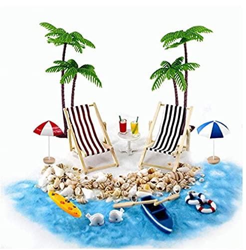 plhzh Playa Paisaje En Miniatura Mini Sillón Reclinable Silla De Playa Sombrilla Pequeña Palmera Accesorios De Decoración 18 Decoraciones En Miniatura Decoración De Jardín De Bricolaje