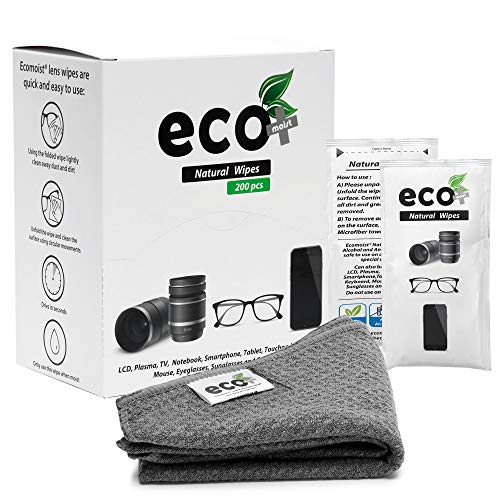 Ecomoist Lens Cleaning Wipes 200 Pre-Moistened and Individually Wrapped Lens Cleaning Wipes with a fine Microfiber Towel Great for Eyeglasses, Mobiles, Camera Lenses, Screens and Keyboards