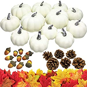 Sun-E Mini White Artificial Pumpkins,Pinecones,Acorns,Random Color Maple Leaves for Fall Harvest Table Fireplace Decor Wreath Craft Halloween Pumpkins Thanksgiving Fall Wedding Party Decorations