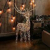 Alpine Corporation AUH164 Alpine Halogen Lights, Outdoor Plug-in Festive Holiday Décor for Yard and Garden Rattan Reindeer
