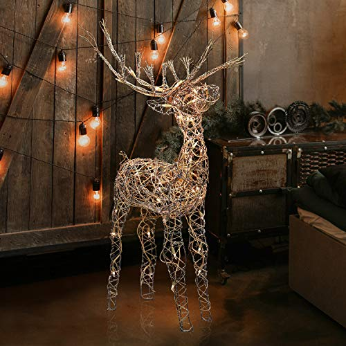 Alpine Corporation AUH164 Alpine Halogen Lights, Outdoor Plug-in Festive Holiday Décor for Yard and Garden Rattan Reindeer, Brown