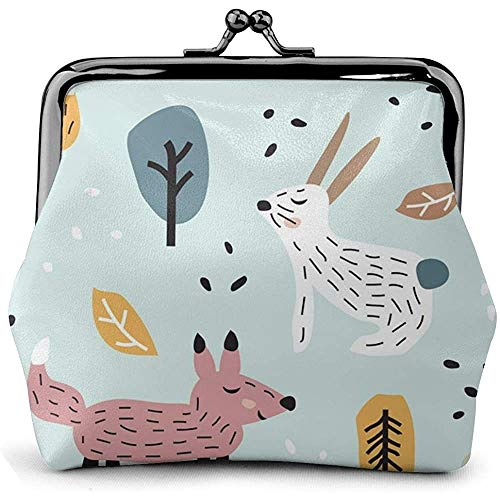 Patrón sin Costuras Infantil Cute Bunny Fox Leather Classic Floral Coin Purse...