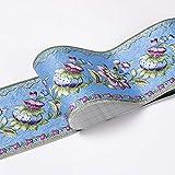 Borde del papel pintado Flor de linterna azul Adhesivo del Papel Pintado del PVC Cenefa autoadhesiva para decoración de pared de cocina10x500cm
